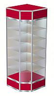 Торговая угловая витрина №8 в каркасе алюминиевого профиля