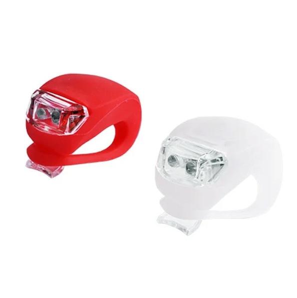 Силиконовые фонарики (мигалки) на велосипед (комплект: передний+задний, красный+белый свет) HJ008-2