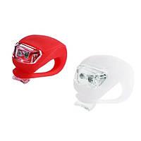 Силиконовые фонарики (мигалки) на велосипед (комплект: передний+задний, красный+белый свет) HJ008-2, фото 1