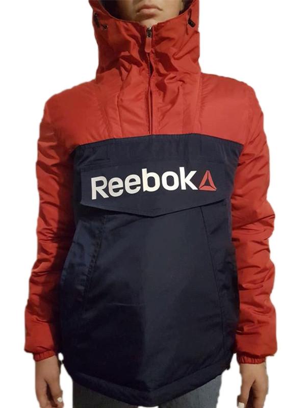 Тепла куртка-анорак синьо-червоний. XS - XL