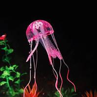 Медуза в аквариум розовая - диаметр шапки около 9,5см, длина около 18см, силикон, (в темноте не светится)