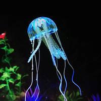 Медуза в аквариум голубая - диаметр шапки около 9,5см, длина около 18см, силикон, (в темноте не светится)