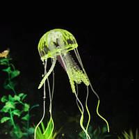 Медуза в аквариум желтая - диаметр шапки около 9,5см, длина около 18см, силикон, (в темноте не светится)