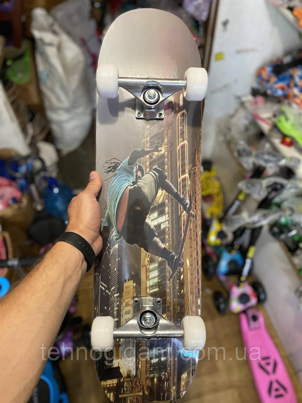 Скейт деревянный, Скейтборд, натуральное дерево , дека 71х20 см, отличное качество качество, цветной