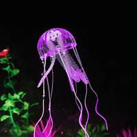 Медуза в аквариум фиолетовая - диаметр шапки около 9,5см, длина около 18см, силикон, (в темноте не светится)