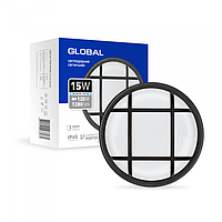 Антивандальний LED-світильник GLOBAL GBH 04 15W 5000K чорний (коло)