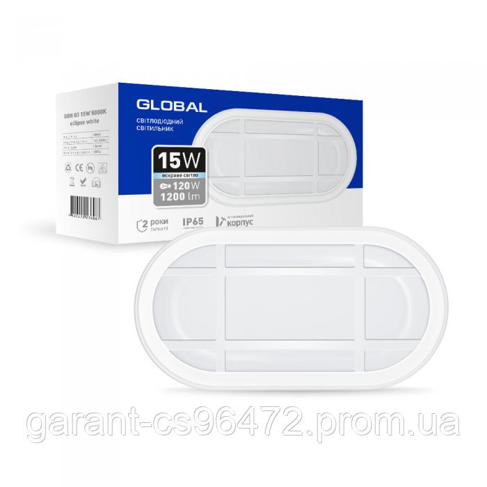 Антивандальний LED-світильник GLOBAL GBH 03 15W 5000K білий (еліпс)