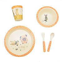 """Посуда детская бамбуковая """"Собачки"""" 5пр/наб (2тарелки, вилка, ложка, стакан)"""