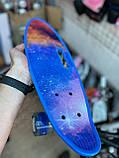 Скейт Penny Board, с широкими светящимися колесами и ручкой, Пенни борд, детский ,от 5 лет, Синий Галактика, фото 5