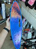 Скейт Penny Board, с широкими светящимися колесами и ручкой, Пенни борд, детский ,от 5 лет, Синий Галактика, фото 2