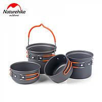 Туристический набор посуды Naturehike из анодированного алюминия.