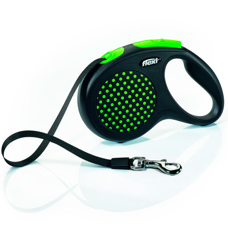 Поводок рулетка ФЛЕКСИ FLEXI Design М, для собак весом до 25 кг, лента 5 метров, цвет зелёный