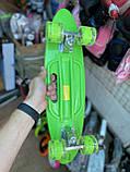 Скейт Penny Board, с широкими светящимися колесами и ручкой, Пенни борд, детский ,от 5 лет, Зеленый, фото 4