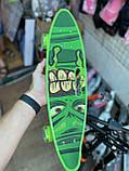 Скейт Penny Board, с широкими светящимися колесами и ручкой, Пенни борд, детский ,от 5 лет, Зеленый, фото 2