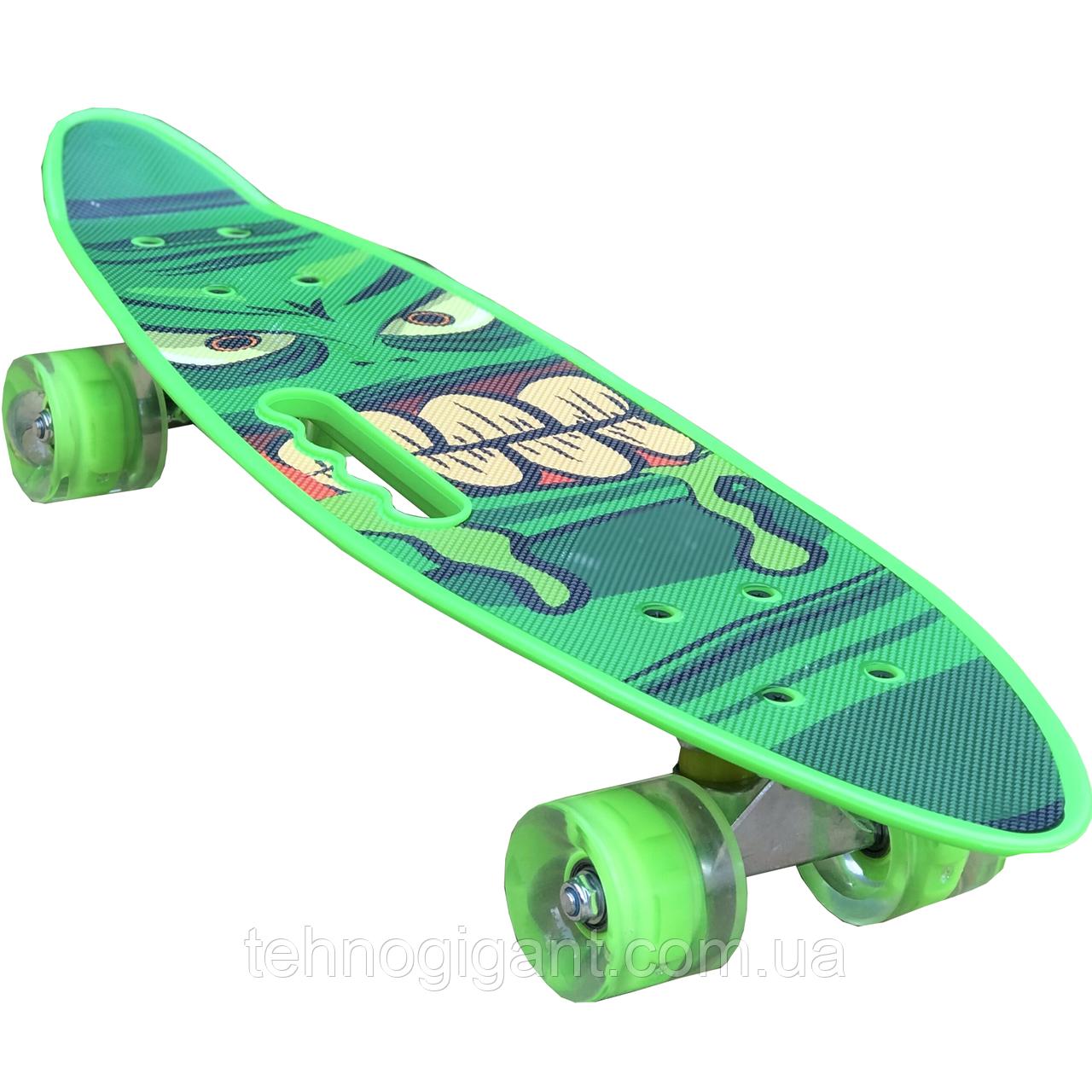 Скейт Penny Board, із широкими світлими колесами і ручкою, Пенні борд, дитячий ,від 5 років, Зелений