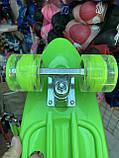 Скейт Penny Board, с широкими светящимися колесами и ручкой, Пенни борд, детский ,от 5 лет, Зеленый, фото 3