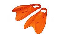 Ласты тренировочные с открытой пяткой (пяточный ремень) AR-95208 Tech Fin (р-р 38-45, оранжевый, синий)