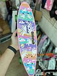 Скейт Penny Board, с широкими светящимися колесами с ручкой, Пенни борд, детский ,от 5 лет, Розовый Пони, Pony, фото 8