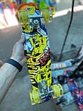 Скейт Penny Board, с широкими светящимися колесами Пенни борд, детский , от 4 лет, расцветка Граффити, фото 4