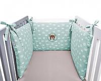 Защитный бортик-бампер в кроватку 180х40см Teddy Ideia мята
