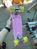 Скейт Penny Board, с широкими светящимися колесами Пенни борд, детский , от 4 лет, расцветка Цветы, фото 2
