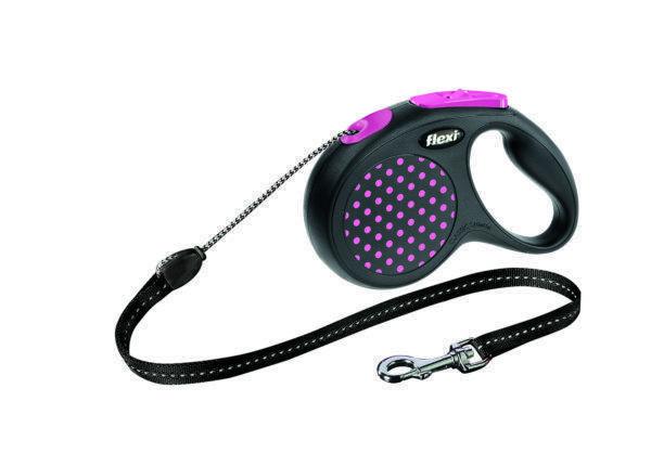 Поводок рулетка ФЛЕКСИ FLEXI Design XS, для собак весом до 8 кг, трос 3 метров, цвет розовый