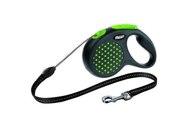 Поводок рулетка ФЛЕКСИ FLEXI Design XS, для собак весом до 8 кг, трос 3 метров, цвет зеленый