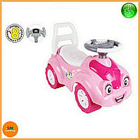 Детская розовая машинка - толокар (машинка-каталка) с электронным рулем, звуком