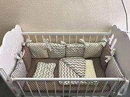 Бортики в кроватку - подушечки в бежево-коричневом цвете с комплектом постельного белья MDreams 120х60 см