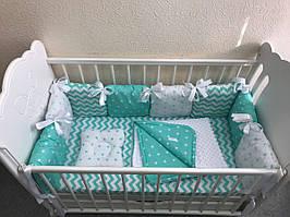 Бортики в кроватку - подушечки в мятном цвете с комплектом постельного белья MDreams 120х60 см