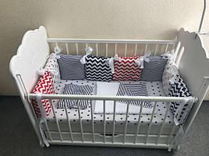 Бортики в кроватку - подушечки в морском цвете с комплектом постельного белья MDreams 120х60 см