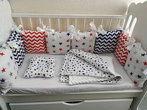 Бортики-подушечки в кроватку MDreams с комплектом постельного белья  120х60 см в морском цвете