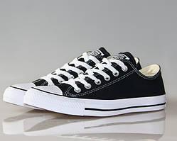 Кеды Конверс черные с белой подошвой низкие Converse All Star Chuck Taylor