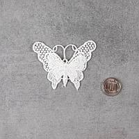 """Декоративная нашивка, аппликация для одежды и декора """"Двойная ажурная бабочка"""" - 5*6 см"""