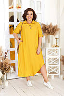 Платье-рубашка ассиметричного кроя с карманами в стиле бохо 48-54