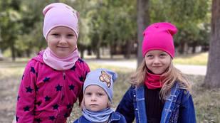 Для Девочек трикотажные комплекты шапка + бафф