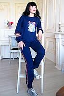 Трикотажный спортивный костюм двунитка модный женский костюм в спортивном стиле Тедди аппликация