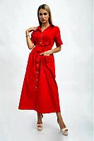 """Платье-рубашка """"Kamomile"""" из хлопка однотонное с коротким рукавом (3 цвета, р.36,38)"""