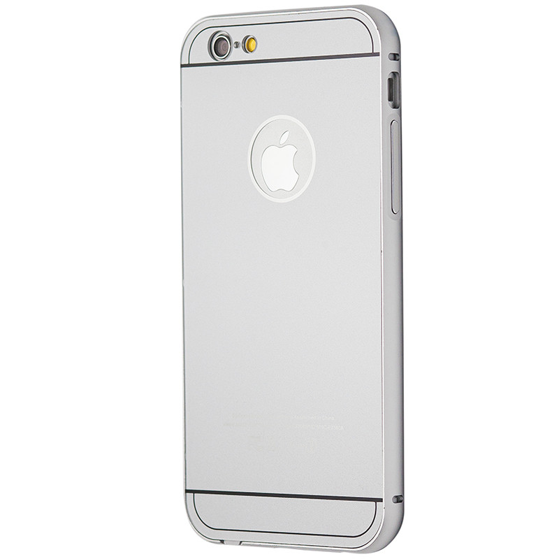 Чехол-бампер металл + пластик накладка для Apple iPhone 6 / 6s (silver)