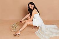 Вечернее кружевное белое платье со съемной пышной юбкой (M, L)