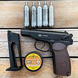 Пистолет пневматический SAS Makarov Blowback + 5 CO2 + 650 BB 4.5 мм