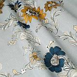 Римські штори з візерунком жовті квіти на сірому фоні, фото 2