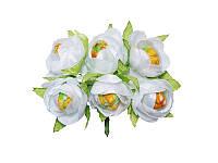 Цветок камелии полураскрытой — Белый, размер 4 см, 1 шт