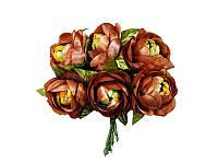 Цветок камелии полураскрытой Кофейный, размер 4 см, 1 шт