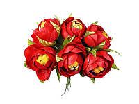 Цветок камелии полураскрытой — Красный, размер 4 см, 1 шт