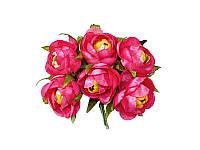 Цветок камелии полураскрытой — Ярко-розовый, размер 4 см, 1 шт