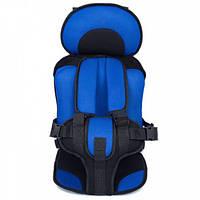 Детское автокресло WOW Lux бескаркасное с подголовником кресло для детей в авто от 9-36 кг Синие