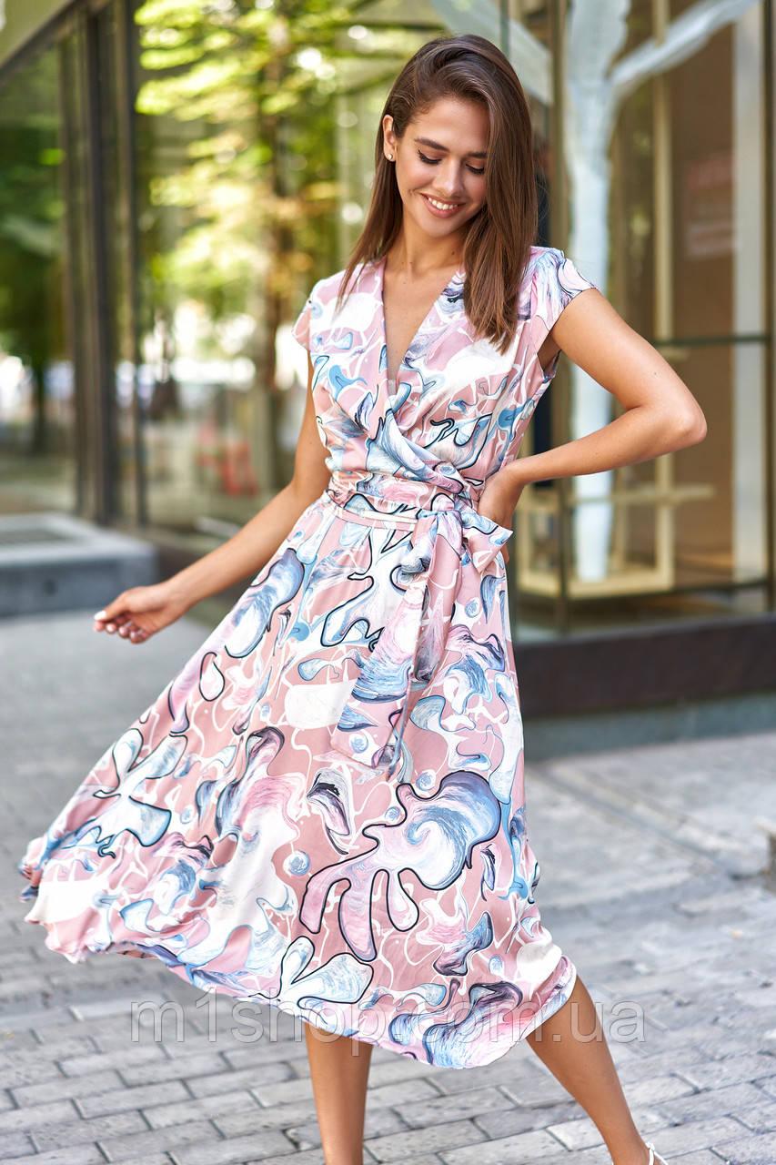 Шелковое летнее платье на запах с юбкой полусолнце (Дилия mm)
