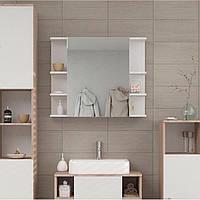Полка навесная с зеркалом, шкафчик в ванную, влагостойкий ДСП