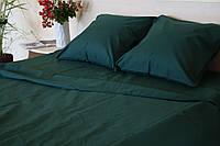 Комплект постельного белья  Бязь GOLD 100% хлопок  Изумруд однотонный семейный